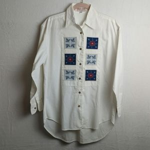 Guess Jeans white button-down blouse size small